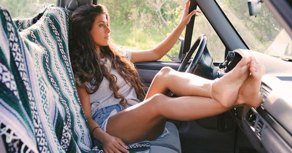 kobieta, samochód, słońce,