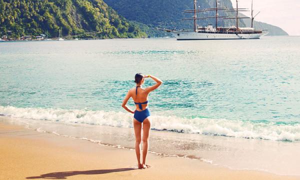 plaża na karaibach i kobieta