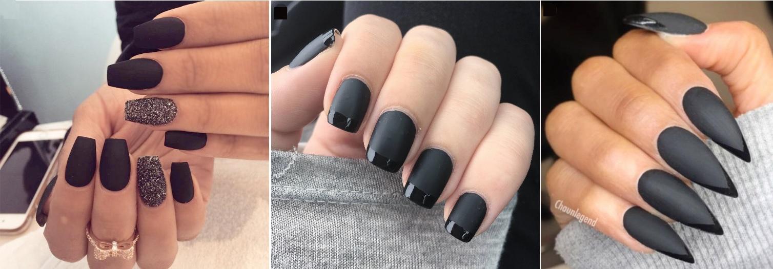 czarne-paznokcie-do-bezowej-sukienki