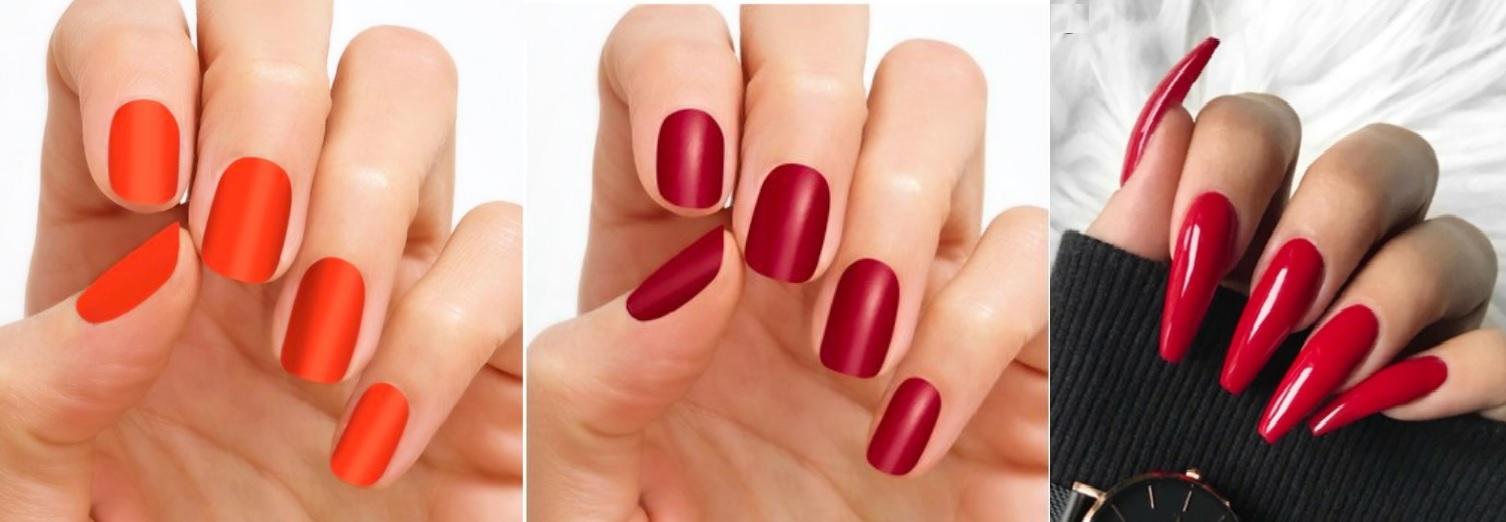 czerwone-paznokcie-do-bezowej-sukienki