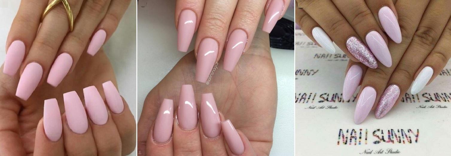rozowe-paznokcie-do-bezowej-sukienki